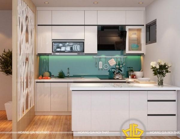 Mẫu tủ bếp Acrylic cao cấp màu trắng