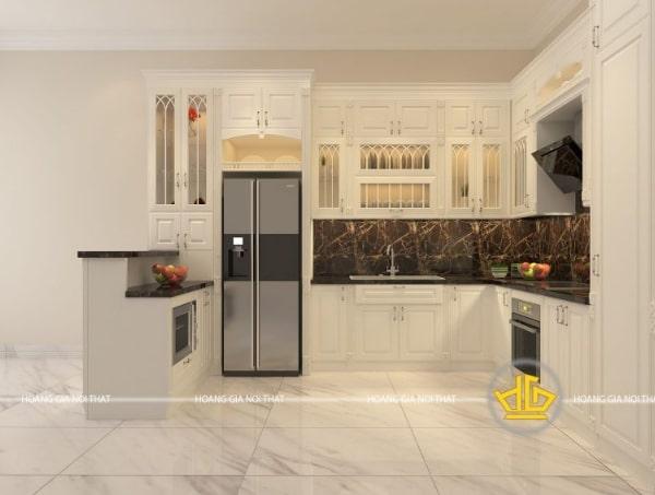 Mẫu tủ bếp tân cổ điển đẹp chữ U màu trắng