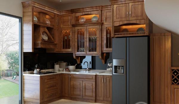 Các mẫu tủ bếp chữ L gỗ tự nhiên cao cấp